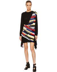 fa7a6f9741 Sonia Rykiel - Runway Broken Stripe Intarsia Drape Front Long Sleeve Dress  - Lyst