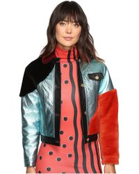 House of Holland | - Metallic Colour Block Jacket - Women - Leather/acetate/lama Fur - 8 | Lyst