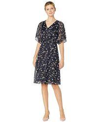 7fe4f0cf2c1 Lauren by Ralph Lauren Boule Abstract Drewly 3/4 Sleeve Day Dress  (lighthouse Navy/vibrant Garnet) Dress in Blue - Save 36% - Lyst