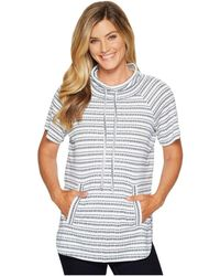 Two By Vince Camuto - Short Sleeve Variegated Stripe Rib Funnel Neck Pullover - Lyst