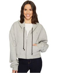 Hudson Jeans - Oversized Zip Crop Hoodie In Heather Grey - Lyst