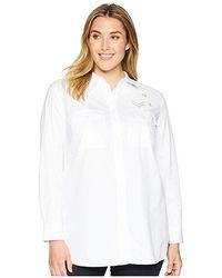 f1a636a78 Lauren by Ralph Lauren - Plus Size Bullion-patch Poplin Shirt (white)  Clothing