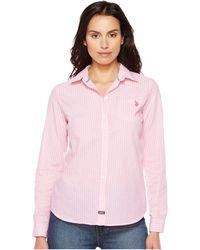 U.S. POLO ASSN.   Long Sleeve Striped Poplin Woven Shirt   Lyst