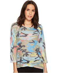 Nally & Millie - Colorful Camoflauge 3/4 Sleeve Top - Lyst