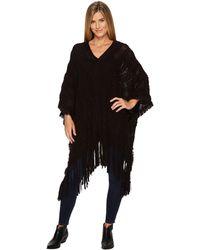 Wrangler - Textured Sweater Knit Poncho Fringe - Lyst