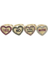 Betsey Johnson - Conversation Heart Ring Set - Lyst