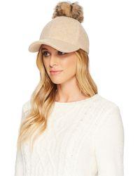 UGG - Fabric Baseball Hat With Fur Pom - Lyst