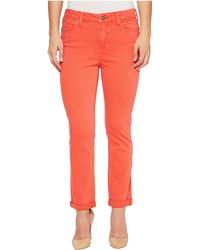 Liverpool Jeans Company - Petite Cami Rolled-cuff Distress Crop In Vintage Slub Stretch Twill In Bittersweet Coral - Lyst