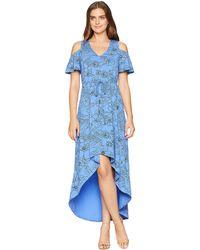Mod-o-doc - Printed Slick Jersey Cold Shoulder Cinch Waist Dress - Lyst