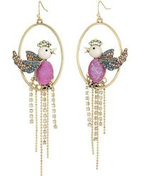 Betsey Johnson - Purple Bird Cage Orbital Earrings - Lyst