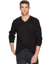 Calvin Klein - Long Sleeve Fabric Blocked V-neck - Lyst