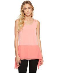 Ellen Tracy - Mixed Media Handkerchief Hem Tank - Lyst