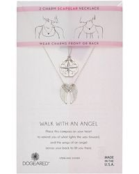 Dogeared - Walk With And Angel, Two Charm Compass And Angel Wing Scapular Necklace - Lyst