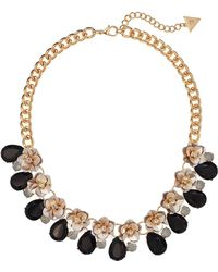 Guess - Floral Motif Collar Necklace With Stone Accents - Lyst