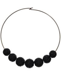 Kenneth Jay Lane - Gunmetal Wire Jet Pave Bead Necklace - Lyst