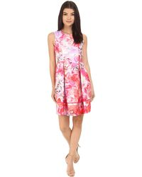 Vince Camuto - Printed Twill Sleeveless Fit And Flare Dress With Seam Detail On Skirt - Lyst