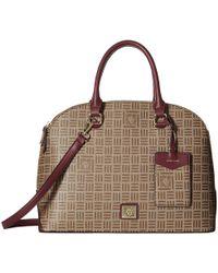 Anne Klein - Classic Revival Triple Compartment Logo Dome Satchel (khaki Brown/walnut) Satchel Handbags - Lyst