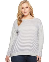 Two By Vince Camuto - Plus Size Long Sleeve Yarn-dye Stripe Cuff French Terry Sweatshirt - Lyst