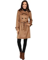Via Spiga - Faux Suede Double Breasted Belted Trench - Lyst