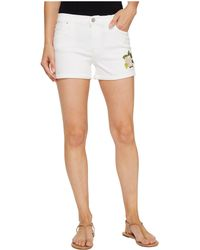Hudson   Asha Mid-rise Cuffed Shorts In Embroidery Floral White   Lyst