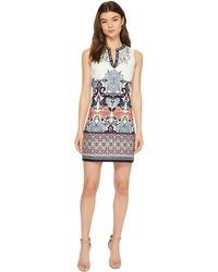 Laundry by Shelli Segal - Printed Embroidered Sleeveless Shift Dress With Beaded Neckline - Lyst