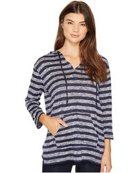Two By Vince Camuto - 3/4 Sleeve Uneven Stripe Split Hoodie - Lyst