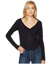 Free People - Cecilia Long Sleeve Top (black) Clothing - Lyst