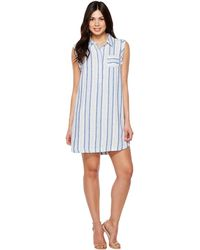 9339488554 Two By Vince Camuto - Sleeveless Sky Stripe Linen Collared Dress - Lyst