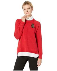 b1613a713 Lauren by Ralph Lauren - Bullion-patch Layered Shirt (lacquer Red) Clothing  -