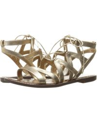 9c911a28464685 Lyst - Sam Edelman Gemma Gold Leather Lace Up Sandal in Brown