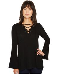 2731061f72128 Karen Kane - Lace-up Bell Sleeve Top - Lyst