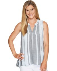 Dylan By True Grit - Taylor Texture Centered Stripe Sleeveless High-low Tunic - Lyst