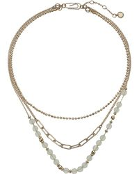 """French Connection - 3 Row Beaded Necklace 15"""" - Lyst"""