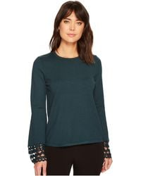 Catherine Malandrino - Bell Sleeve Geometric Cut Out Sweater - Lyst