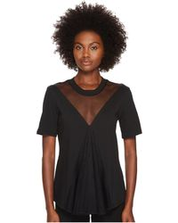 Sportmax - Calerno Short Sleeve Sheer V-neck Front Top - Lyst