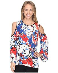 974263f5015d1e Vince Camuto - Bell Sleeve Nautical Bloom Cold-shoulder Blouse (antique  White) Clothing