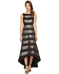 Adrianna Papell - Striped Lace & Mikado Hi-low Dress - Lyst