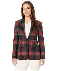 1a35cccb Balmain Tartan Tweed Jacket With Fringe in Red - Lyst