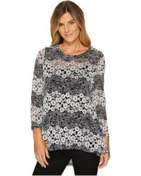 Nally & Millie - White Lace Tunic With Back Pleat - Lyst