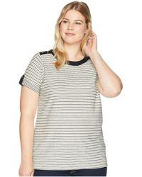 Lauren by Ralph Lauren - Plus Size Striped Button-shoulder Top - Lyst