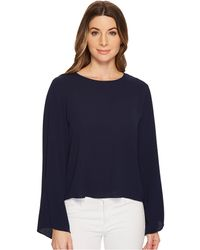 Vince Camuto - Bell Sleeve Side Drawstring Soft Texture Blouse - Lyst