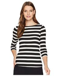 5480ffda837e89 Three Dots - Alpine Stripe 3/4 Sleeve Top W/ Shell Stitch (black