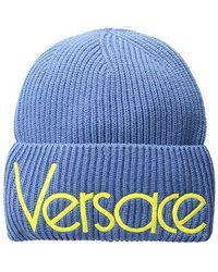 Versace - Vintage Logo Beanie (ice Blue/yellow) Beanies - Lyst