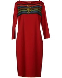 Roberta Di Camerino - Wide Neckline Jersey Red Knee Length Dress - Lyst