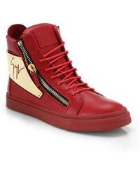 Giuseppe Zanotti Signature Metal-Plated Leather High-Top Sneakers - Lyst
