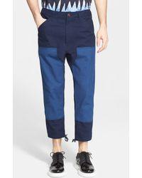 Junya Watanabe Colorblock Cotton Oxford Pants blue - Lyst