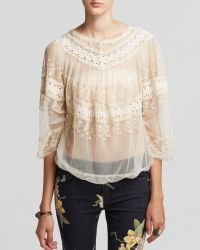 Free People Top - Embellished Mesh Victorian - Lyst
