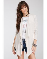 Forever 21 Heathered Open-Front Cardigan - Lyst