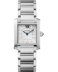 Cartier Tank Francaise Diamond  Stainless Steel Medium Bracelet Watch - Lyst