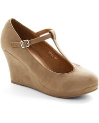 ModCloth Dashing To Dinner Wedge in Sand - Lyst